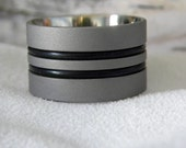 Ring or Wedding Band, Titanium with Black Rubber, Unique Style, Sandblasted