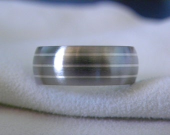 Ring or Wedding Band, Titanium with Silver Pinstripe Inlays, Satin Finish
