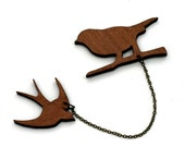 Bird Collar Clips, Wooden Swallow Accessory, Animal Brooch, Woodland, Wood Jewelry