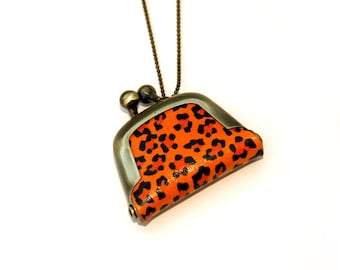 Leopard Print Coin Purse Necklace, Animal Print Necklace,