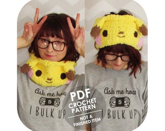 INSTANT DOWNLOAD - The Original Kawaii anime fuzzy pikachu pokemon inspired cowl headband - PDF crochet pattern -