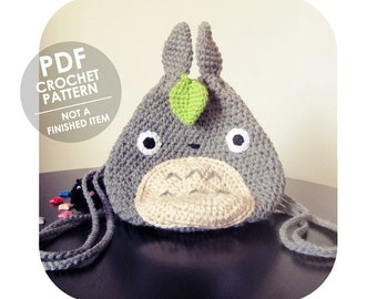 crochet pattern - The Original Amazing Kawaii Totoro Drawstring Mini Backpack - PDF INSTANT DOWNLOAD - not a finished product