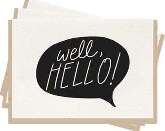 Letterpress 'Well Hello' - Folded Note Cards - Pack of 6