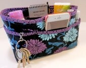 """Purse Organizer Insert/Enclosed Bottom  4"""" Depth/ Black With Blue and Plum Floral Print"""
