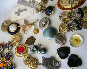 Over 18 Vintage Jewelry Items, Earrings, Pins, Brooches,Bracelet,Pendant, Necklace, keepsakes, Wear or Remake or Repurpose