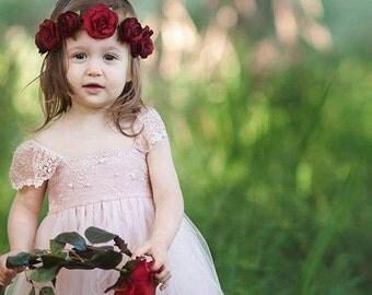 RUE DEL SOL blush flower girl dress French lace and silk tulle dress for baby girl blush princess dress blush  tutu dress
