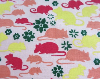 Peach Cute Rat or Sweet Mouse? - hand printed cotton fabric RARE