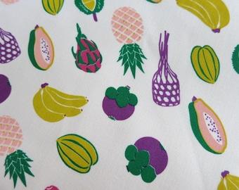 Half Yard - Tropical Fruits - Hand-printed cotton fabric