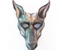 Leather Animal Creature Mask freaky spooky  gothic Dark Carnival brown white black grey Horse Goat Llama Kangaroo