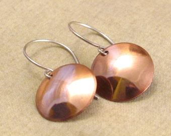 Copper Minimalist Drop Circle Coin Earrings