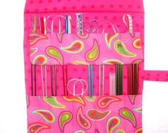 Pink Paisley Knitting Roll Up, Double Pointed Needle DPN Case, Crochet Hook Storage, Artist and Makeup Brushes Organizer, Hook Holder