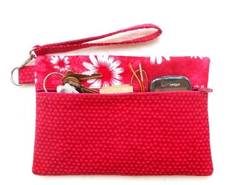 Front Zippered Wristlet, Hot Pink White Floral Clutch, Small Womans Purse, Phone or Camera Bag, Makeup or Gadget Holder, White Floral Wallet