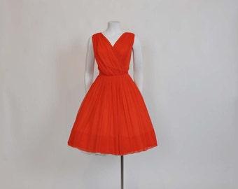 1960s dress / Vintage 60's Lilli Diamond Chiffon Full Cocktail Party Dress