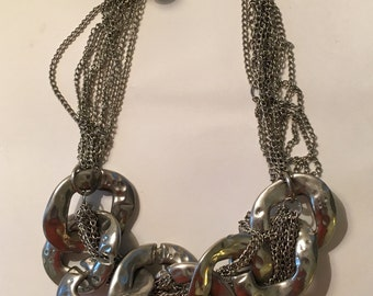 Silver link necklace, statement piece!