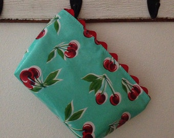 Beth's large aqua cherry oilcloth cosmetic bag