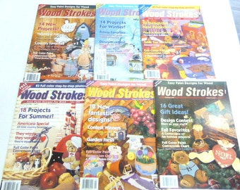 Wood Strokes Magazine 6 Back Issues Tole Painting Patterns Easter  Christmas Americana Country Rustic Cottage Chic Projects 1994-95