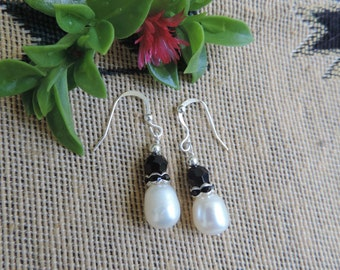 Simple and Elegant White Pearls n Swarovski Sterling Earrings