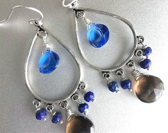 FLASH SALE, Tanzanite Blue, Smokey Quartz and Lapis Lazuli Chandelier Earrings, Surf and Sand Earrings, blue and brown quartz earrings