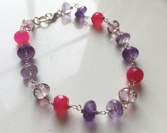 Amethyst Bracelet, Multi-cilor bracelet, rainbow bracelet, Fruit Punch Bracelet