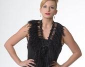 Promo Sale Black Ostrich Feather Wrap/ Shrug, adorned with Swarovski crystal