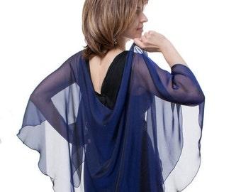 Promo Sale Dark Blue Silk Shawl