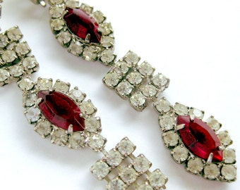 Vintage Art Deco Revival Claw-set White & Ruby Red Rhinestone Cascade Drop Earrings / Post Back