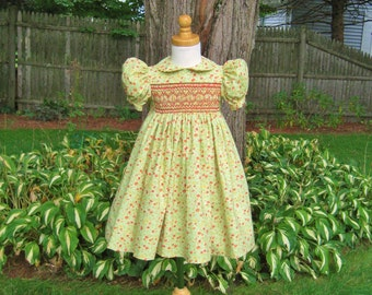 Smocked girls green dress, coral flowers, size 2T, toddler, ready to ship, Easter dress, OOAK, Special occasion, handmade, birthday, Classic