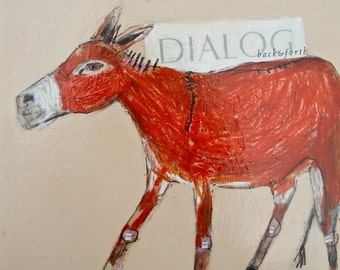 EMERY original painting 'donkey dialogue' expressionism folk  outsider donkey corporate back and forth
