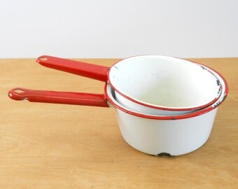 Vintage Enamelware Sauce Pans • Shabby Red and White Metal Sauce Pans
