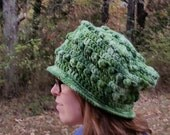 Lovely Textured Green Crochet Bobble OversizedAdult Size Slouch Hat Winter Warm Hat Ready To Ship