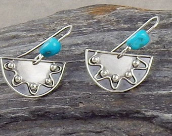 Handmade Argentium Silver Earrings with Turquoise Nuggets - Artisan Jewelry - Unique