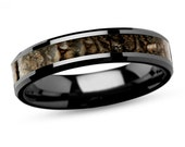 Ceramic Wedding band for Him or Her, His or Her Dinosaur Wedding Band, Black Ceramic Wedding Ring