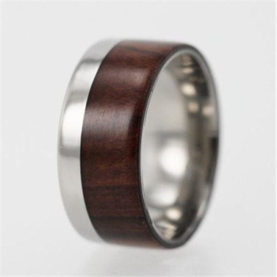 Titanium Ironwood Ring Modern Design Wide By Jewelrybyjohan