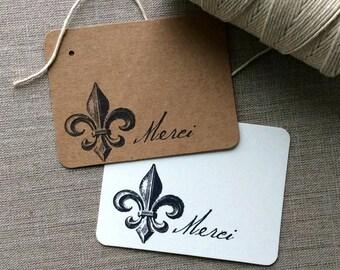20 Mini Fleur de lis Thank You Cards, fleur de lis gift tags, French market cards, French gift tags, Paris chic cards, flat thank you cards