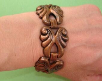vintage copper tone scroll bracelet