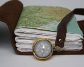 Rich Brown Leather Travel Journal with Working Compass
