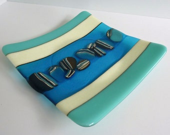 Fused Glass Plate in Turquoise, French Vanilla and Brown