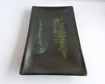 Irridescent Black Fossil Vitra Fern Fused Glass Plate by BPRDesigns