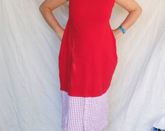 Dress - Peppermint Peggy - Red and White contrast - Cotton Lycra - Upcycled Dress Shirt