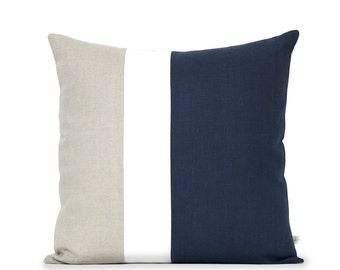 Color Block Pillow Cover (20x20) Navy, Cream and Natural Linen by JillianReneDecor, Modern Home Decor, Colorblock, Striped Trio, Coastal