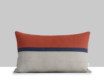 Sienna Horizon Line Lumbar Pillow Cover with Navy & Natural Linen Stripes by JillianReneDecor, Modern Home Decor, Potter's Clay, Fall Decor