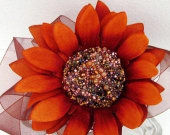 Russet Sunflower Headband / Russet Orange & Chocolate Brown / Beaded Velvet Russet Sunflower / Fall Fashion Colors / OOAK Gift Under 75