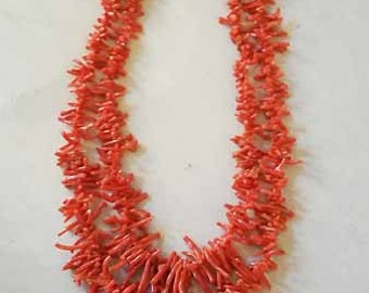 vintage two strand coral necklace with pearls