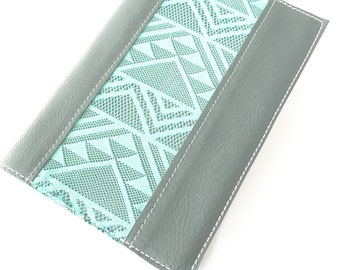 Custom Bible Cover  Grey Leather with Turquoise Lace Accent   Custom sized to fit your bible perfectly