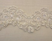 CHAMPAGNE GOLD Lace Trim beaded w pearls sequins embellished embroidered doll bridal wedding veil