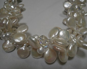 Genuine Off White Pearl and Crystal Multi Strand Necklace