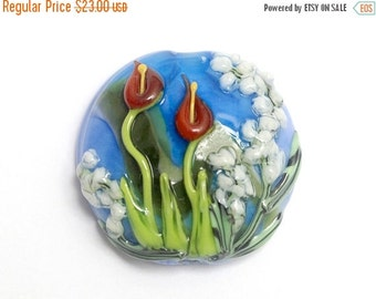 ON SALE 50% OFF New! 11837802 Red Calla Lily Lake Lentil Focal Bead - Handmade Glass Lampwork Bead