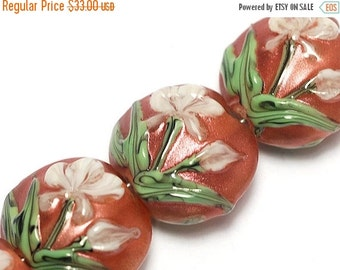 ON SALE 30% OFF Glass Lampwork Bead Set - Four Ivory Mist Flower on Coral Lentil Beads 10706212