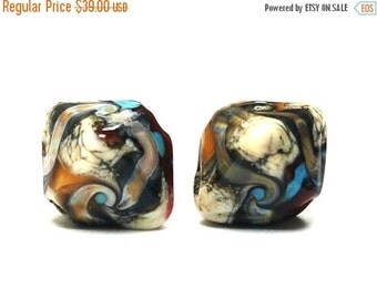 ON SALE 30% OFF Glass Lampwork Bead Sets  - Five Dark Brown Silver Ivory Bicone Beads 11605707