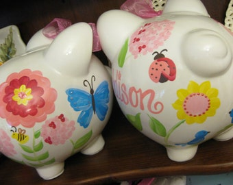 piggy bank hand painted personalized garden fun